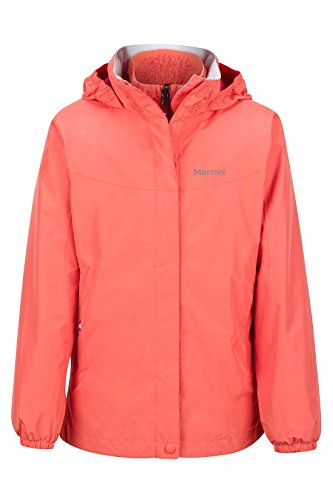 - Marmot Northshore Girls' Waterproof Hooded Rain Jacket with Removable Fleece Liner, Living Coral, Medium
