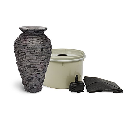 Aquascape Stacked Slate Urn Fountain Kit with Pump and Basin, 32 Inches Tall | 58064