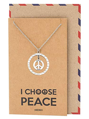Quan Jewelry Classic Peace Pendant Necklace, Peace Symbol Sign Love Circle Reminder Charm - 100% Handmade ()