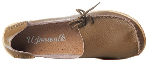 Casual Brown Lace Leather Cowhide Womens Driving up Flat Loafers Serene RAvtqwx