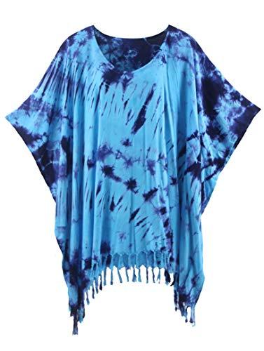 Beautybatik Blue Boho Hippie Batik Tie Dye Tunic Blouse Kaftan Top 4X