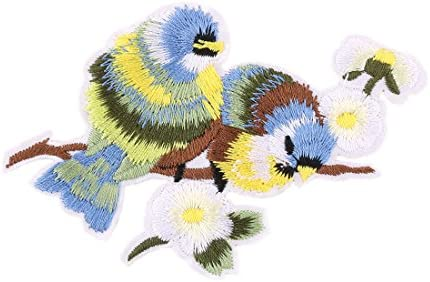 Sourcing map famiglia uccelli poliestere modello artigianale ricamo