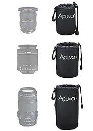 Acuvar Neoprene Soft DSLR Lens Pouch Case Kit For Canon Nikon Sony Pentax Olympus Panasonic and Blackmagic Pocket Cinema Camera Lenses (3 Pouches, S, M, L)