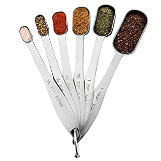 Measuring Spoons Set, Stainless Steel, Teaspoon Set, Fits in Spice Jars, Tablespoon Set for Measuring Dry and Liquid Ingredients, Set of 6