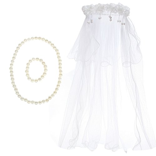kilofly Wedding Girls Beaded Floral Hair Wreath Veil + Necklace Bracelet Set ()