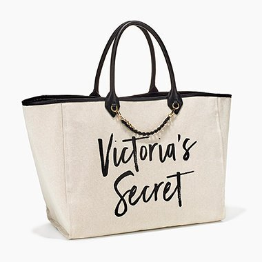 victorias-secret-tote-canvas-white-gold-chain-leather-black-handle