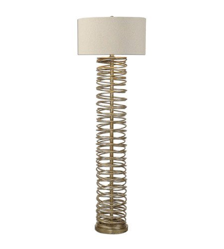 - Floor Lamps 1 Light with Antiqued Silver Champagne Finish Metal Fabric Material 65 inch 150 Watts