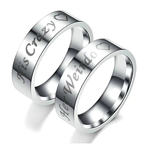 fashionlife2018 His Crazy Her Weirdo Titanium Steel Ring His And Her Couple Rings Wedding Band Anniversary Engagement Promise Ring 6mm by fashionlife2018