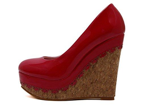 L'eau Plate Talon Cuir Brevet Chaussures en Talon épaisse forme Imperméable à Haut De Rouge Xianshu EYqpfW1xw