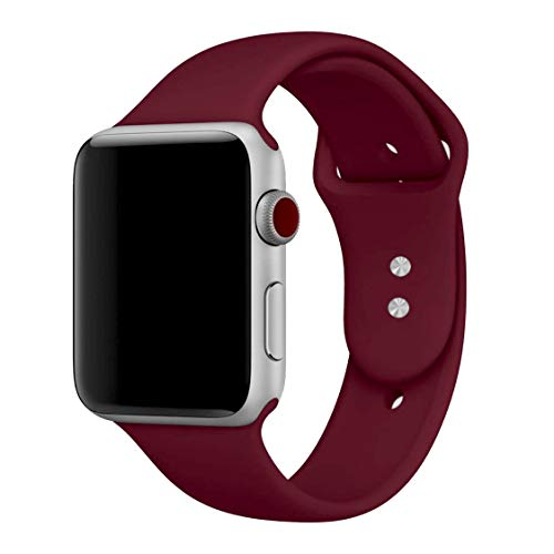 MadeforOnline Sport Band for Apple Watch 42mm 38mm, Soft Silicone Waterproof Replacement Band iWatch Bands Wristband for Apple Watch Sport, Series 3, 2, 1 S/M M/L (Rose Red, 38mm M/L)