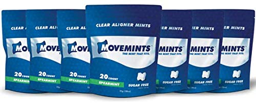 Movemints Clear Aligner Mints - Specially Designed for Invisalign Braces - Edible Alternative to Chewies - Spearmint Flavor - 7 Pack