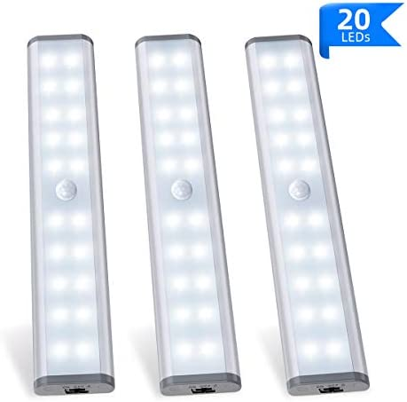 MOSTON Rechargeable Closet Light 20LED, Homelife Motion Sensor LED Lights Under Cabinet Stick on Anywhere with Built-in Magnetic 3 Pack