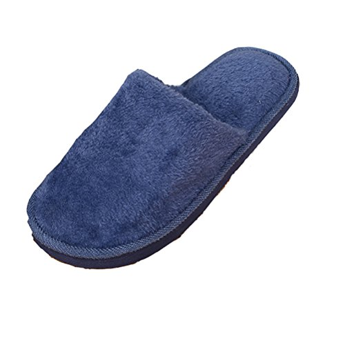 Gaatpot Winter Warm Plush Slippers Anti-Slip House Shoes Comfort Cotton Indoor Shoes For Men Women Deep Blue l1cChWXDl