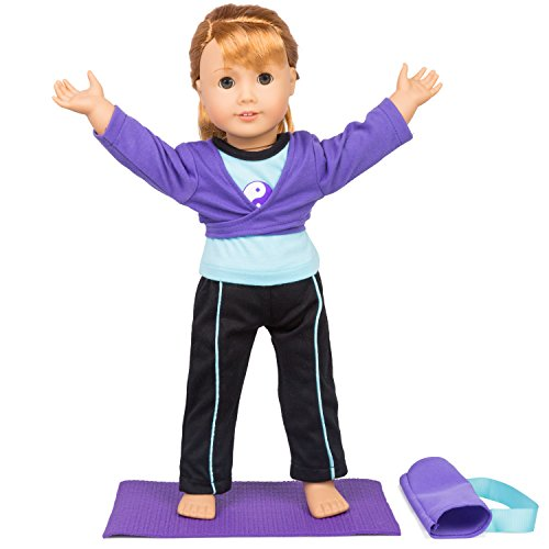 Dress Along Dolly Gymnastics Outfit (Yoga) for American Girl Dolls: Includes Yoga Mat, Carrying Case, Leggings and Shirt]()