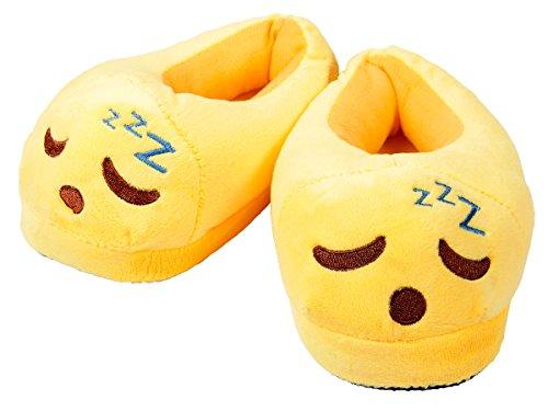 Emoji Kuschel Hausschuhe Emoticon Geschenkidee Emoji-Hausschuhe Plüsch Smiley Schuhe Winter Puschen Rutschfest von Alsino Schlafen