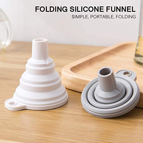 Grey Mini Silicone Foldable Funnel Hopper Home Cooking Tools Kitchen Gadget BIOBEY Collapsible Funnel