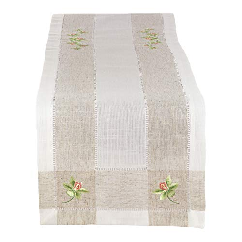 Fennco Styles Hommage Brodé Collection Cottage Orchid Embroidery Hemstitch Border Linen Blend 15 x 70 Inch Table Runner - Ivory Table Runner for Wedding, Banquet, Tea Party and Home Décor ()
