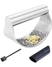 Garlic Press,Rocker Garlic Crusher Garlic Press Mashed Stainless Steel Garlic Puree Maker with Silicone Roller Peeler Cleaning Brush