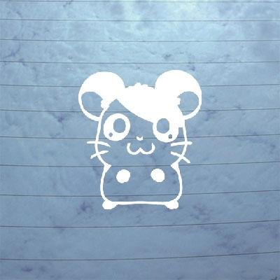 VINYL WHITE WALL ART CAR AUTO HAMTARO BIKE HELMET ADHESIVE VINYL MACBOOK LAPTOP DIE CUT ART DECORATION DECAL WALL