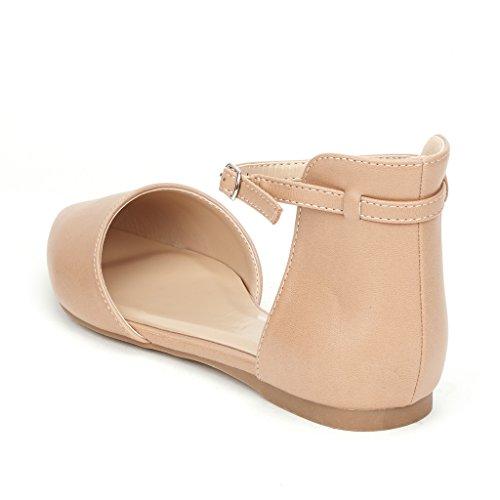 DREAM PAIRS FLAPOINTED Frauen Casual D'Orsay wies Plain Ballett Comfort Soft Slip auf Wohnungen Schuhe neu Knöchel - nackt-pu