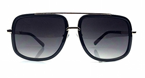 Mach Square Aviator Large Metal Plastic Frame Men Women Sunglasses (Black - Men Sunglasses Frame Large