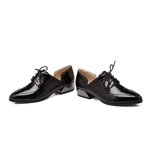 BalaMasa da donna low-heels lace-up pointed-toe gomma pumps-shoes, Nero (Black), 35