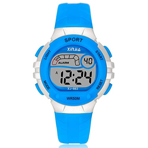 Kids Digital Watch,Boys Girls Sports Outdoor LED 50M(5ATM) Waterproof Multi Functional Wrist Watches with Alarm for Children,Girls,Boys (Blue) by XINYIXING