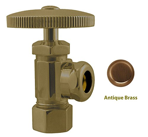 06 Antique Brass Angle - Westbrass 1/2 in. Copper Compression by 1/2 in. Slip Joint Angle Stop, D103-06, Antique Brass