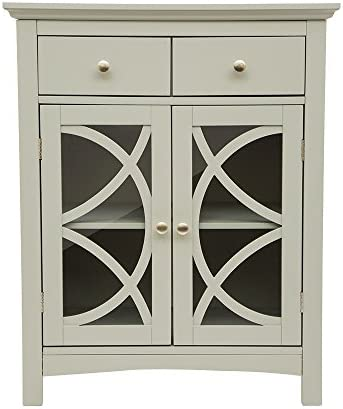 Glitzhome Wooden Free Standing Storage Cabinet Accent Display with Double Doors and Drawer Bathroom Furniture Grey 32 H