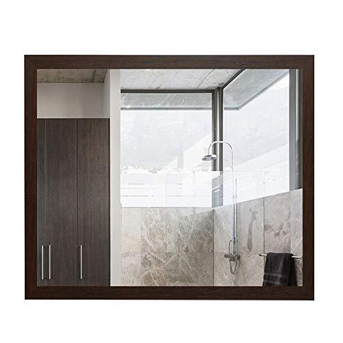 Bathroom mirror Mirror, Framed Wall Hanging Rectangular Modern Minimalist Bathroom Toilet Side Hanging Mirror (Color : Brown, Size : 6080cm) ()