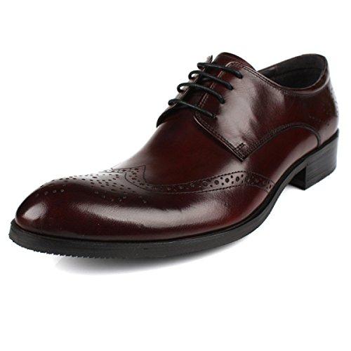 GRRONG Zapatos De Cuero De Los Hombres Vestido De Negocios Cinturón De Cuero Con Hueco Banquete Transpirable Brown