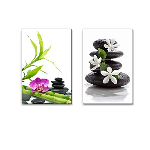 Purple Orchid with Bamboo and Black Stones Tiare Flowers with Zen Stone Spa Concept Wall Decor ation x 2 Panels