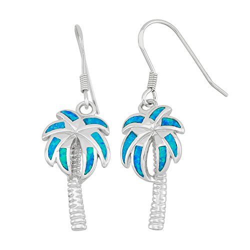 Sterling Silver Created Blue Opal Palm Tree ()