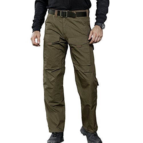 Wool Field Pants - FREE SOLDIER Men's Tactical Pant Wear-Resistant Stylish Duty Pants Breathable Multi-Pocket Hiking Climbing Trousers (Dark Green,L)