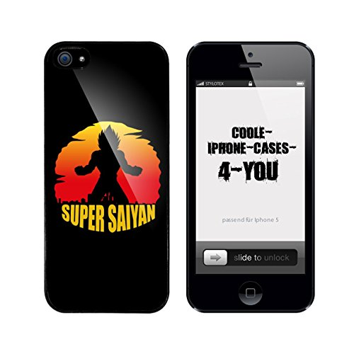 Iphone 5 / 5S Schutzhülle Super Saiyan Sunset - schwarzer Rahmen