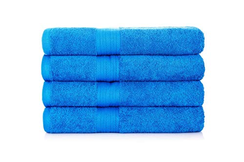 Ample Decor Premium 100% Cotton French Blue Bath Towel Set (4 Pack, 30 X 54 Inch) Lightweight High Absorbency Multipurpose Quick Drying Pool Gym Towel Set