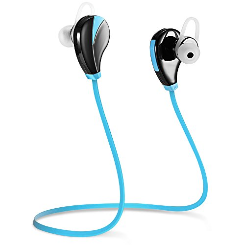 Wireless Headphones,Sporch Noise Cancelling Bluetooth Earbuds Sweatproof Earphones In-Ear Stereo Sports Headsets with Mic for Running Jogging Workout and Gym (Blue)