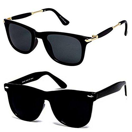 ae8c7c70329 Y S Uv Protected Non Polarized Wayfarer Boy s Girl s Men s   Women s  Sunglasses Combo(Cm-Blk-Gldn-Stk+Blkblkwayf