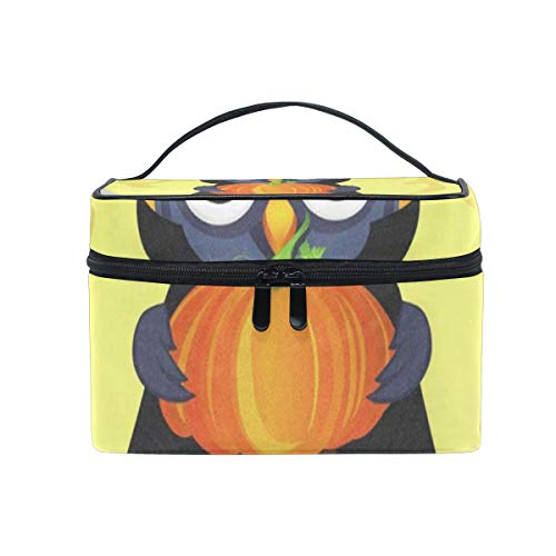 Makeup Bag Halloween Owl In Witch Costume With Pumpkin Cosmetic Bag Portable Large Toiletry Bag for Women/Girls Travel]()