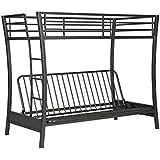 novogratz brett twin over full size futon bunk bed multi functional design in sturdy amazon    grey   futons   living room furniture  home  u0026 kitchen  rh   amazon