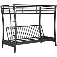 Novogratz Brett Twin Over Full Size Futon Bunk Bed, Multi-functional Design in Sturdy Meta with Sleek Slanted Legs, Includes Metal Slats, Gunmetal Gray