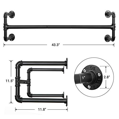 Set of 2 Black Wall-mounted Clothes Rack