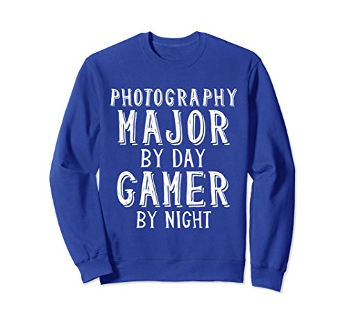 Unisex Photography Major By Day Gamer By Night College Sweatshirt Large Royal Blue