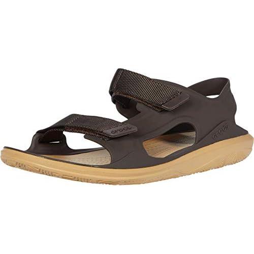 chollos oferta descuentos barato Crocs Swiftwater Molded Expedition Sandal Sandalias de Punta Descubierta para Hombre Marrón Espresso Tan 2i1 43 44 EU