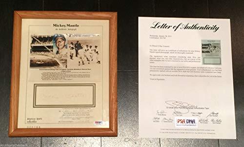 Mickey Mantle Autographed Signed Photo W Coa Loa From PSA/DNA #X01749 Framed - Mickey Mantle Autographed Photo