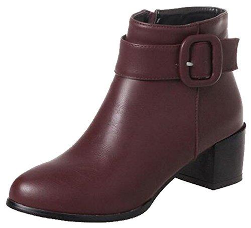 Easemax Kvinna Trendig Bucklig Rem Rund Tå Mitten Chunky Häl Dragkedja Boots Röda