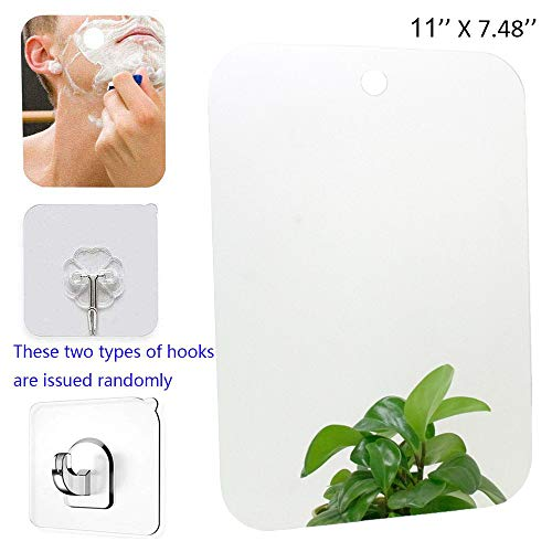 XoYo-Large Fogless Shower Mirror (11inX7.48in), Includes 1 Adhesive Hooks, Anit-Fog Shower Mirror, - Bathroom Adhesive Removing Mirrors