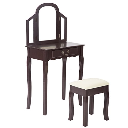 BestMassage Makeup Vanity Set Table with Drawer, Fashional Stool and Tri Folding Mirror by BestMassage