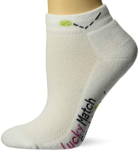 Lucky Match Socks - K. Bell Women's Met My Match Tennis Novelty Low Cut Athletic Socks, Lucky (White), Shoe Size: 4-10