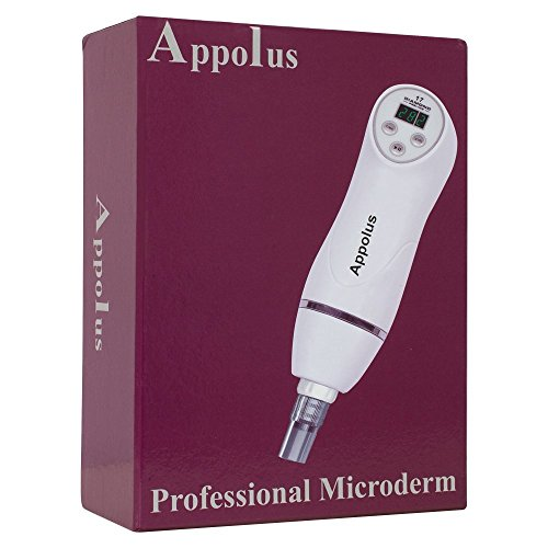 Appolus Microdermabrasion Machine-Premium Diamond Microdermabrasion Kit For Flawless Lifted Skin-3 Different Size Diamond Tips-8 Heads-Blackhead Blemishes Remover-Pore Lines Wrinkles Sagging Minimizer